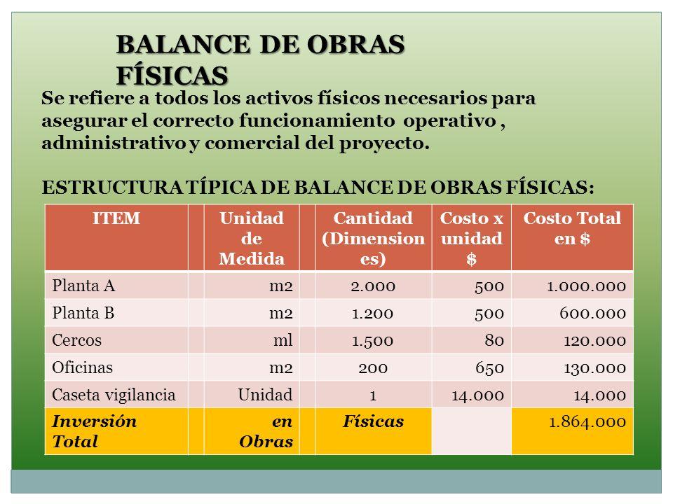 BALANCE DE OBRAS FÍSICAS Se refiere a todos los activos físicos necesarios para asegurar el correcto funcionamiento operativo, administrativo y comerc