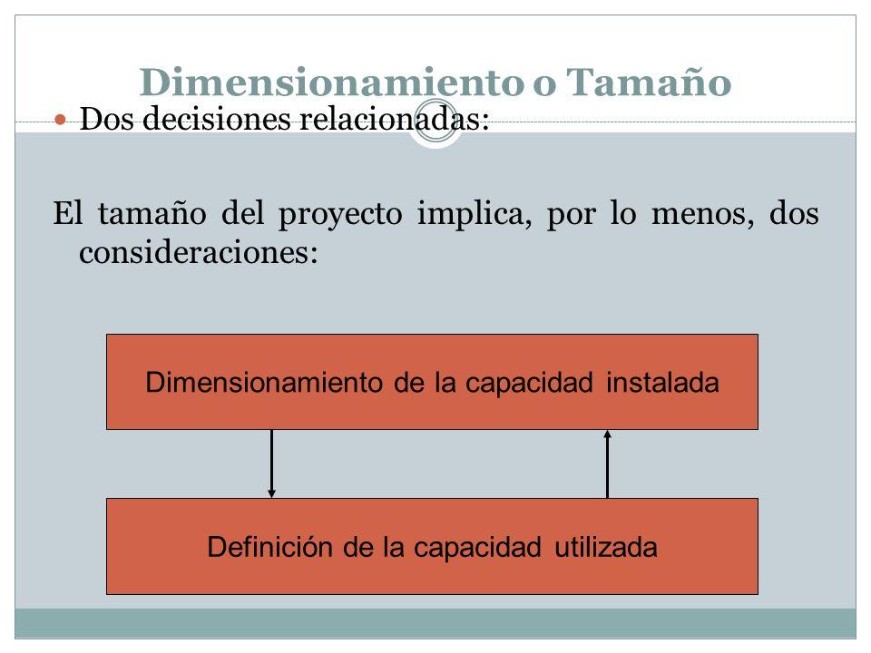 Dimensionamiento o Tamaño Dos decisiones relacionadas: El tamaño del proyecto implica, por lo menos, dos consideraciones: Dimensionamiento de la capac