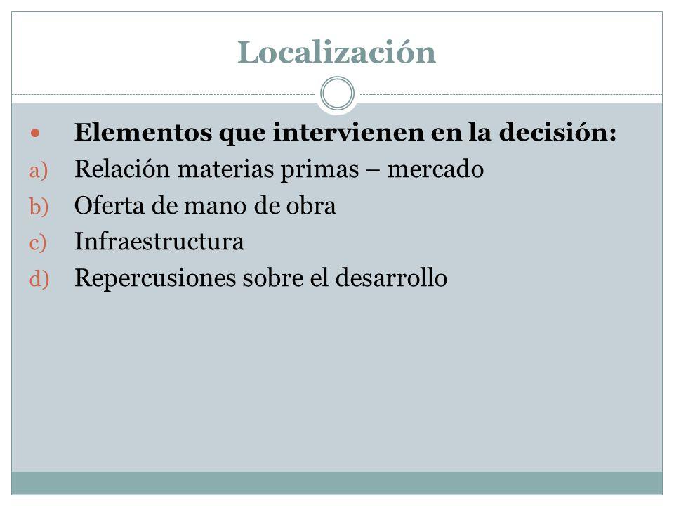 Localización Elementos que intervienen en la decisión: a) Relación materias primas – mercado b) Oferta de mano de obra c) Infraestructura d) Repercusi