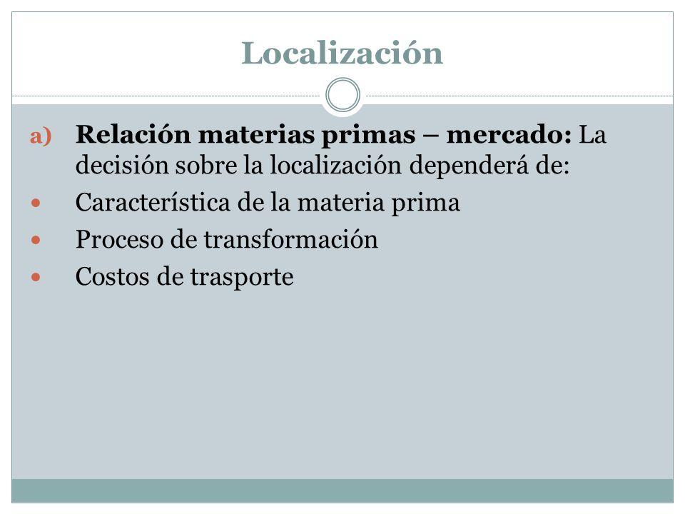 Localización a) Relación materias primas – mercado: La decisión sobre la localización dependerá de: Característica de la materia prima Proceso de tran