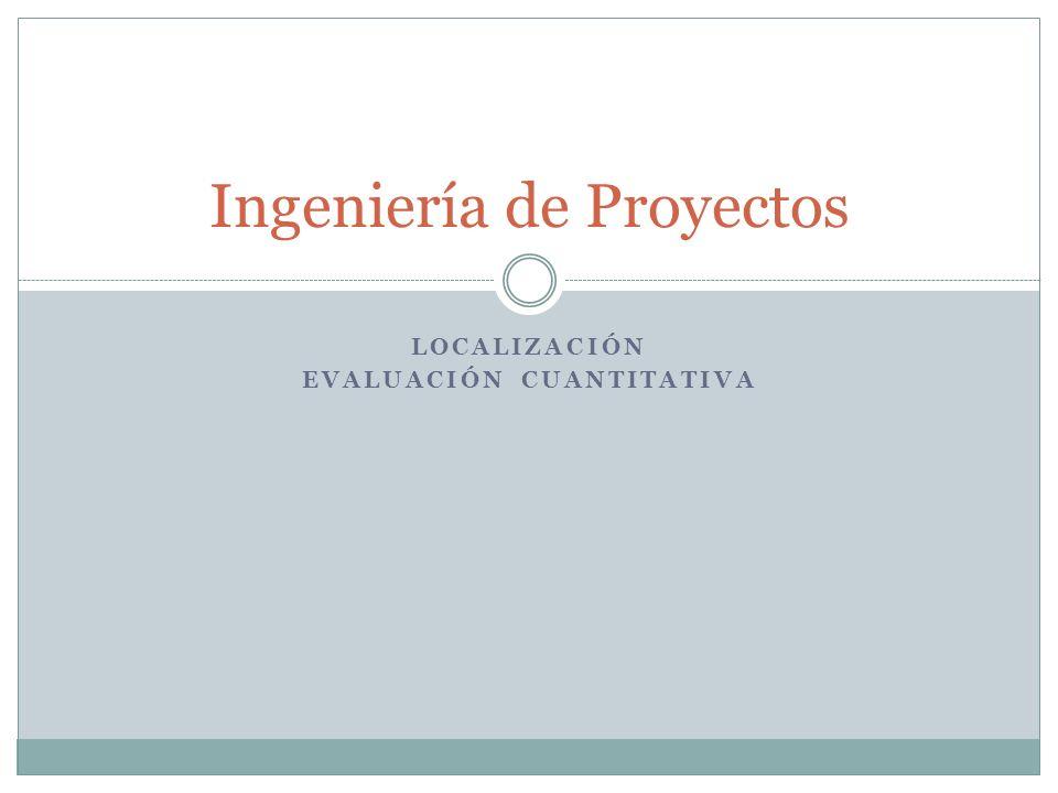 Ingeniería de Proyectos LOCALIZACIÓN EVALUACIÓN CUANTITATIVA