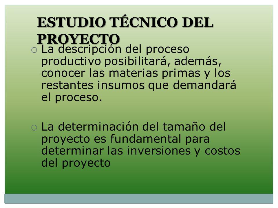 ESTUDIO TÉCNICO DEL PROYECTO La descripción del proceso productivo posibilitará, además, conocer las materias primas y los restantes insumos que deman