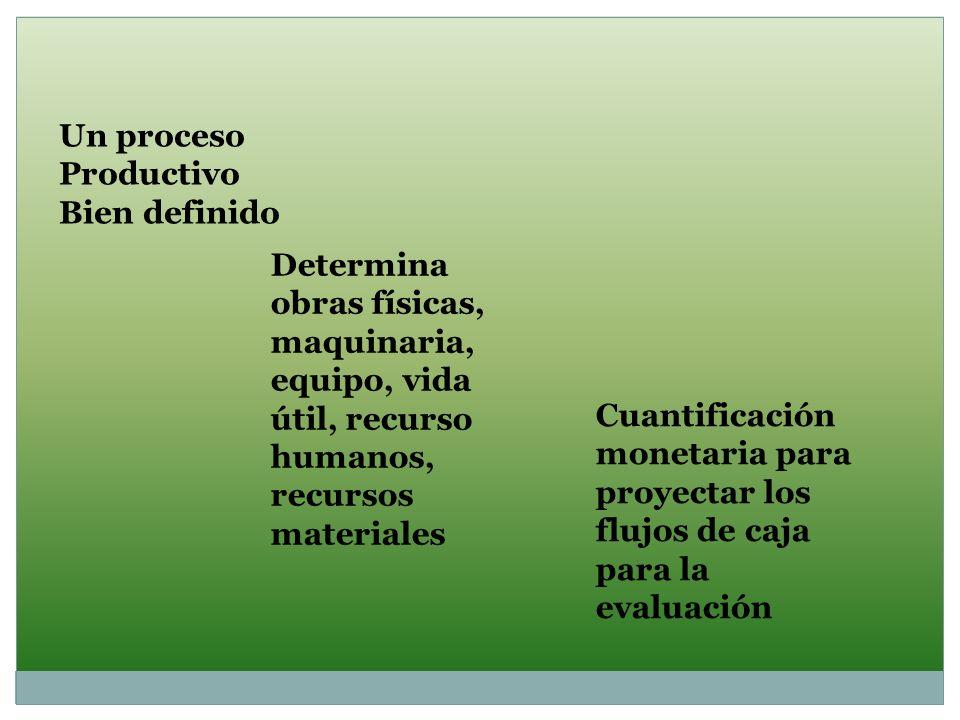 Un proceso Productivo Bien definido Determina obras físicas, maquinaria, equipo, vida útil, recurso humanos, recursos materiales Cuantificación moneta