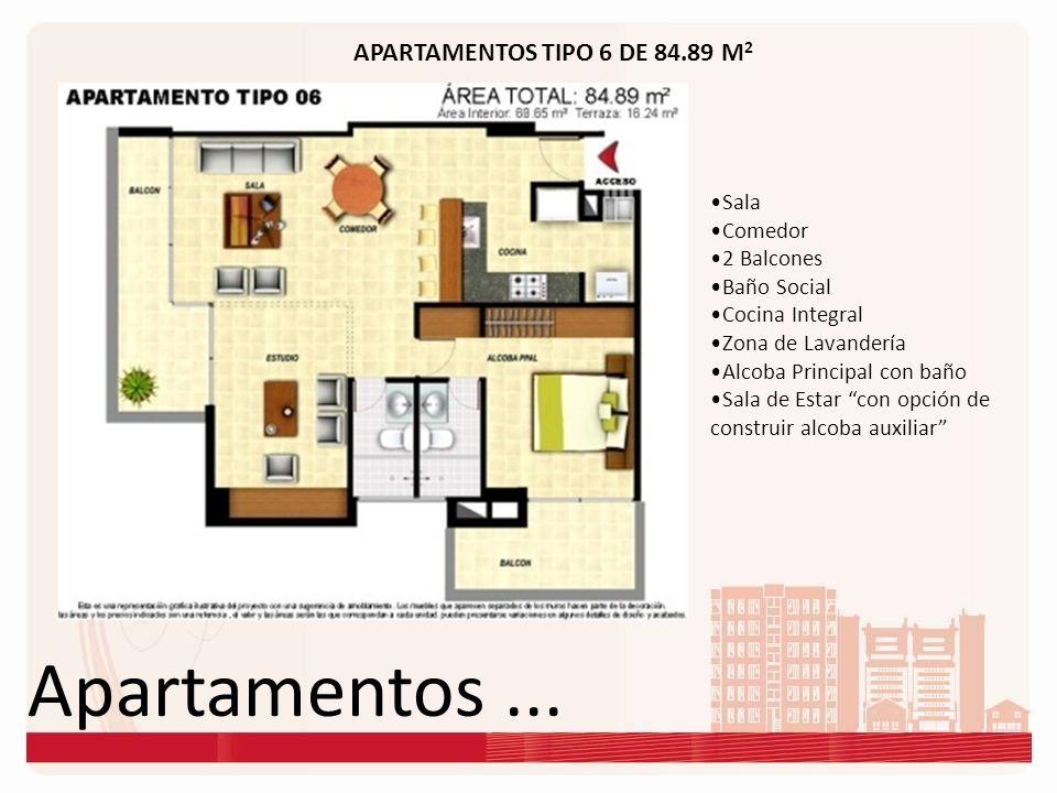 Apartamentos... APARTAMENTOS TIPO 6 DE 84.89 M 2 Sala Comedor 2 Balcones Baño Social Cocina Integral Zona de Lavandería Alcoba Principal con baño Sala