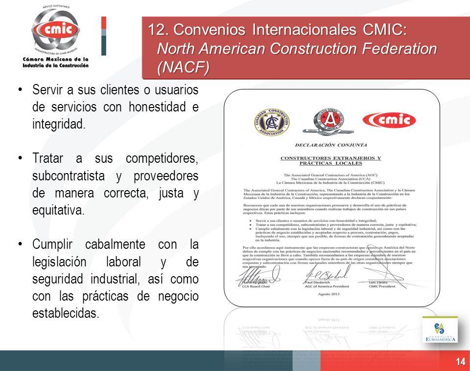 12. Convenios Internacionales CMIC: North American Construction Federation (NACF) 14 Servir a sus clientes o usuarios de servicios con honestidad e in