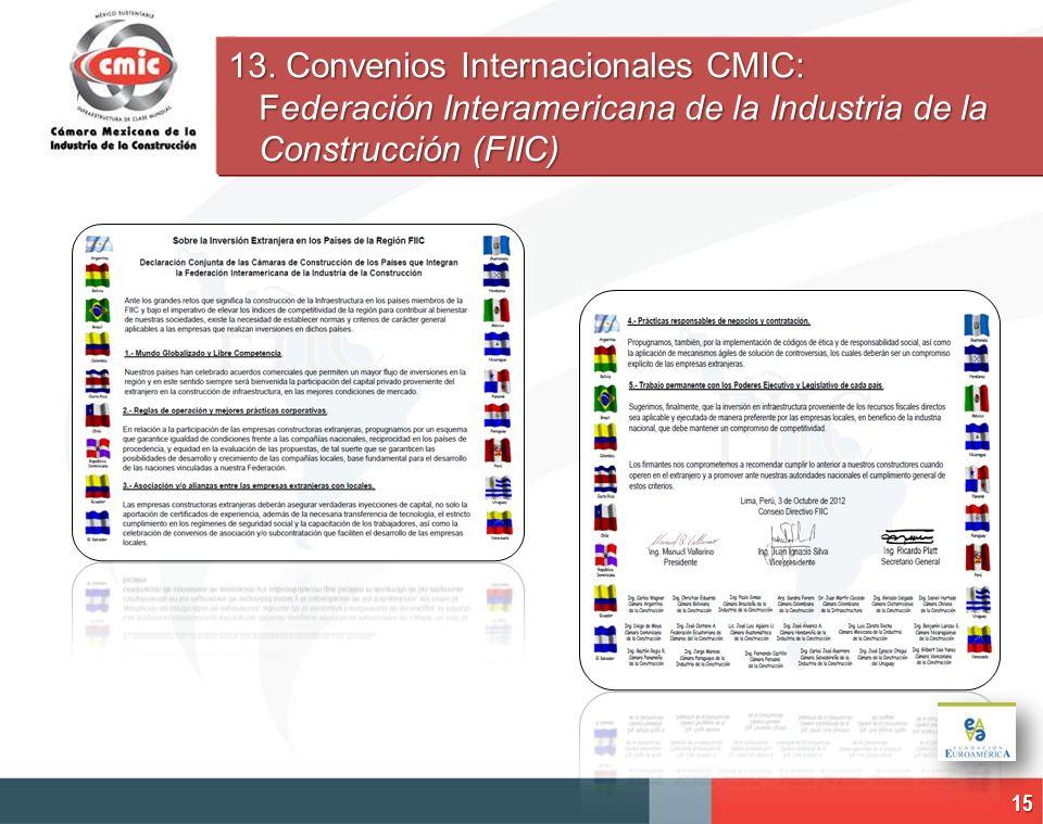 15 13. Convenios Internacionales CMIC: Federación Interamericana de la Industria de la Construcción (FIIC)