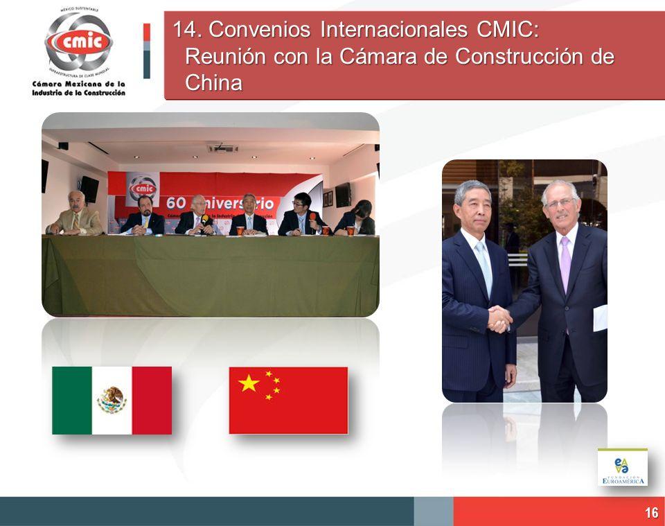 14. Convenios Internacionales CMIC: Reunión con la Cámara de Construcción de China 16
