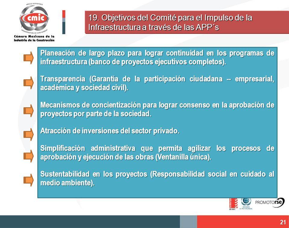 19. Objetivos del Comité para el Impulso de la Infraestructura a través de las APP´s Planeación de largo plazo para lograr continuidad en los programa
