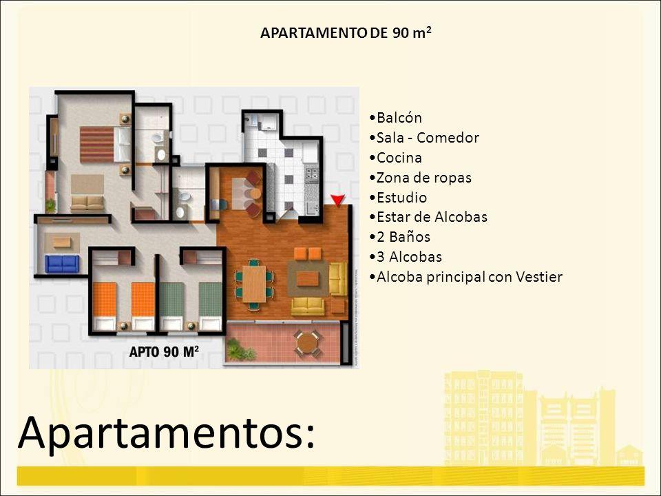 Apartamentos: APARTAMENTO DE 90 m 2 Balcón Sala - Comedor Cocina Zona de ropas Estudio Estar de Alcobas 2 Baños 3 Alcobas Alcoba principal con Vestier