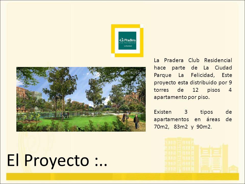 El Proyecto :.. La Pradera Club Residencial hace parte de La Ciudad Parque La Felicidad, Este proyecto esta distribuido por 9 torres de 12 pisos 4 apa
