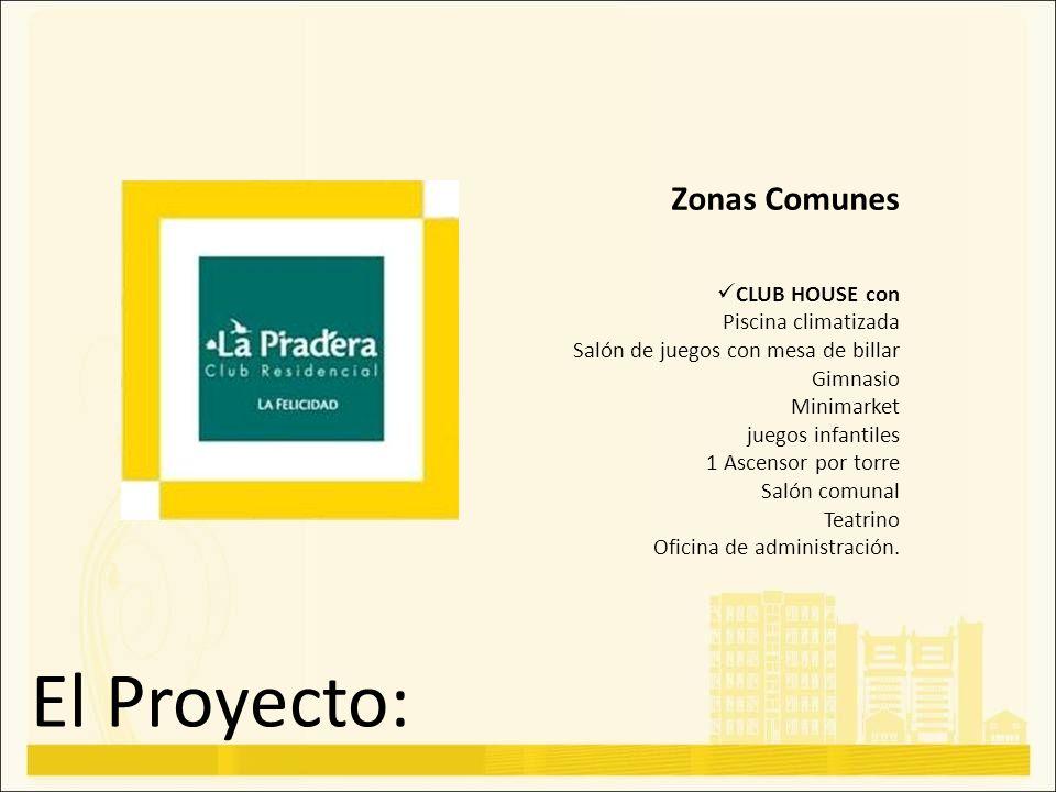 El Proyecto: Zonas Comunes CLUB HOUSE con Piscina climatizada Salón de juegos con mesa de billar Gimnasio Minimarket juegos infantiles 1 Ascensor por