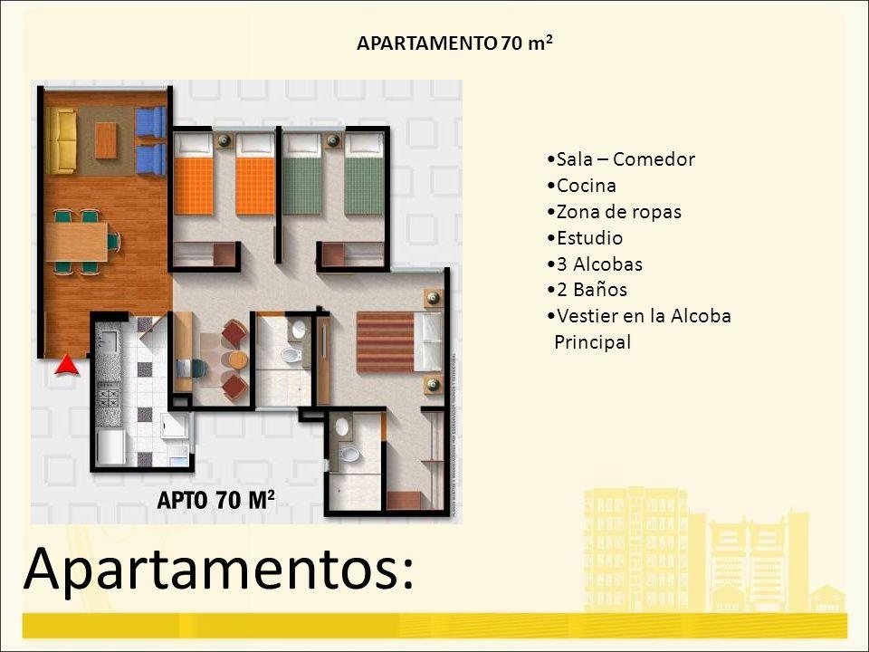 Apartamentos: APARTAMENTO 70 m 2 Sala – Comedor Cocina Zona de ropas Estudio 3 Alcobas 2 Baños Vestier en la Alcoba Principal