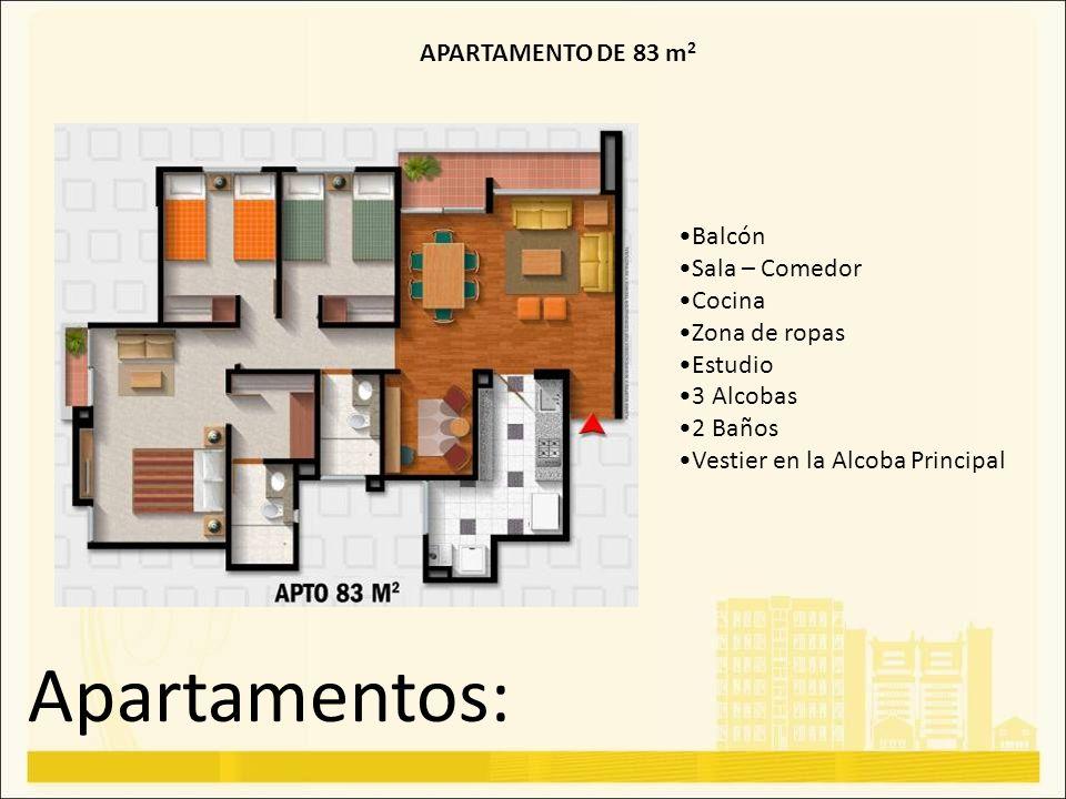 Apartamentos: APARTAMENTO DE 83 m 2 Balcón Sala – Comedor Cocina Zona de ropas Estudio 3 Alcobas 2 Baños Vestier en la Alcoba Principal