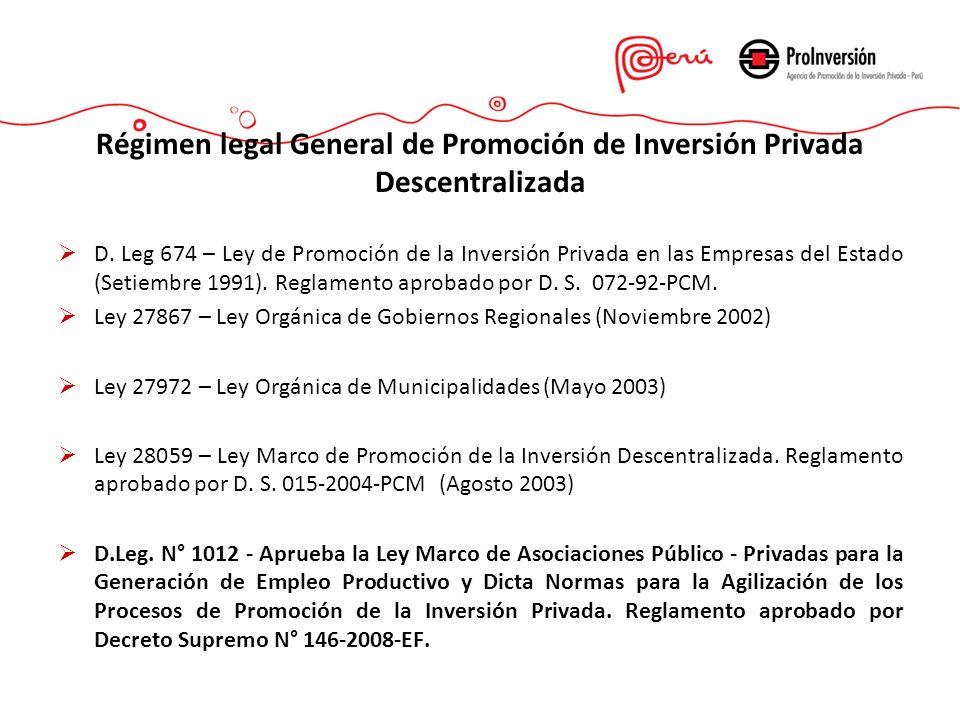 Régimen legal General de Promoción de Inversión Privada Descentralizada D. Leg 674 – Ley de Promoción de la Inversión Privada en las Empresas del Esta