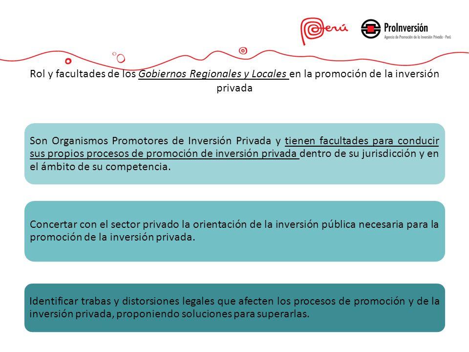 Son Organismos Promotores de Inversión Privada y tienen facultades para conducir sus propios procesos de promoción de inversión privada dentro de su j