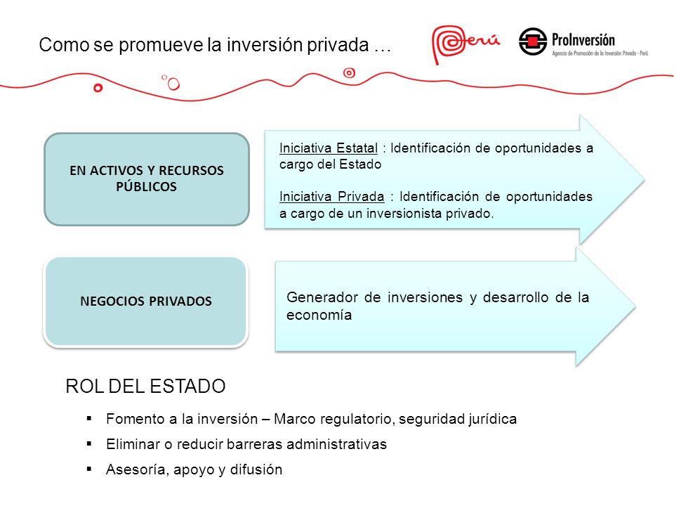 Como se promueve la inversión privada … EN ACTIVOS Y RECURSOS PÚBLICOS NEGOCIOS PRIVADOS Iniciativa Estatal : Identificación de oportunidades a cargo
