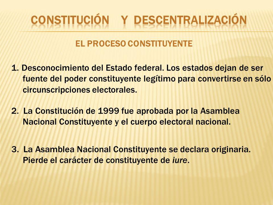 EL PROCESO CONSTITUYENTE 1.Desconocimiento del Estado federal. Los estados dejan de ser fuente del poder constituyente legítimo para convertirse en só
