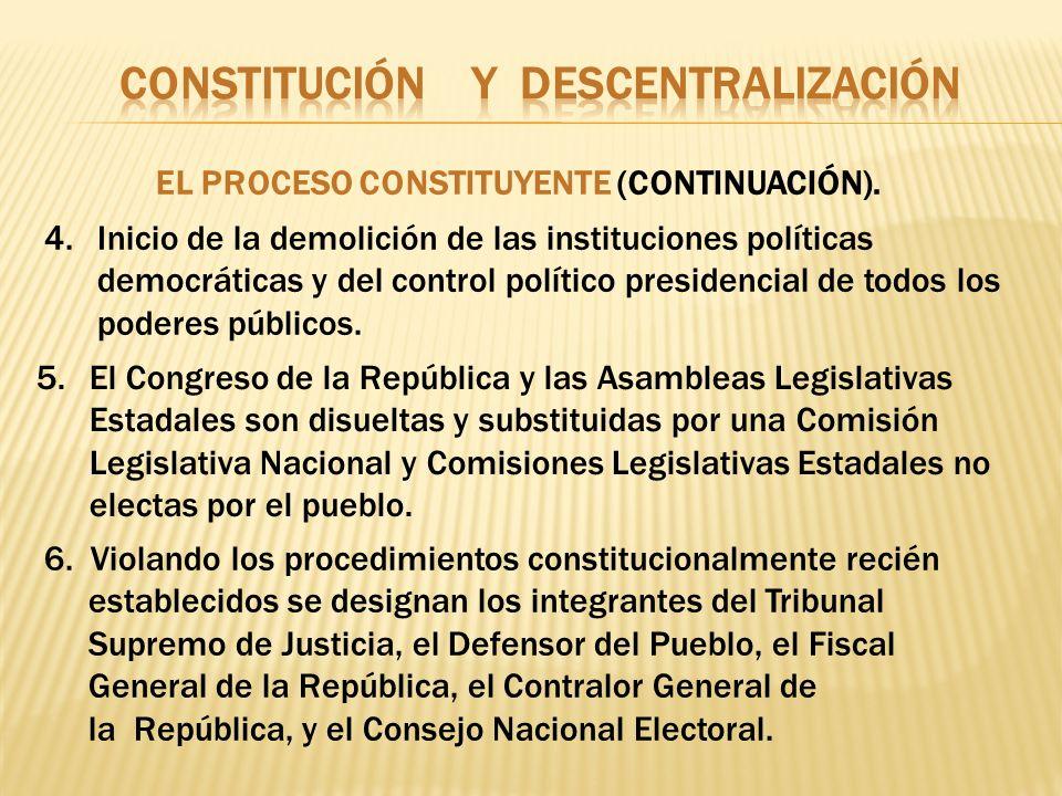 6. Violando los procedimientos constitucionalmente recién establecidos se designan los integrantes del Tribunal Supremo de Justicia, el Defensor del P