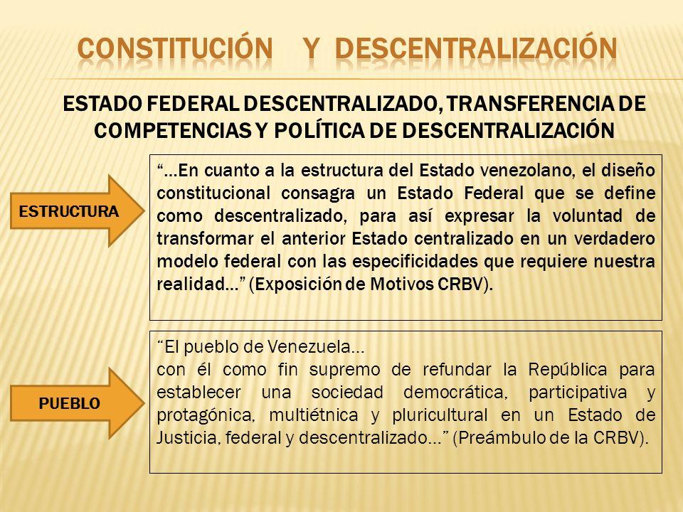 ESTADO FEDERAL DESCENTRALIZADO, TRANSFERENCIA DE COMPETENCIAS Y POLÍTICA DE DESCENTRALIZACIÓN …En cuanto a la estructura del Estado venezolano, el dis