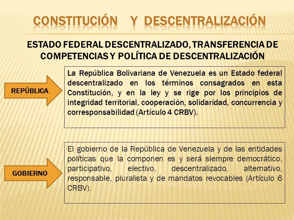 ESTADO FEDERAL DESCENTRALIZADO, TRANSFERENCIA DE COMPETENCIAS Y POLÍTICA DE DESCENTRALIZACIÓN La República Bolivariana de Venezuela es un Estado feder