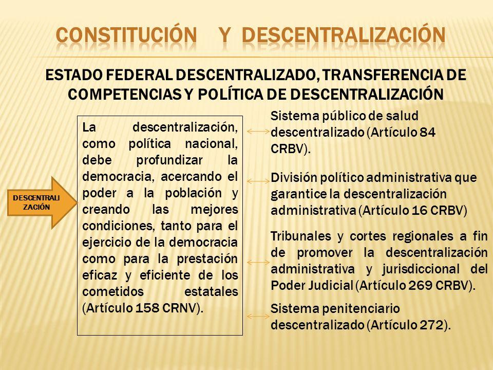 ESTADO FEDERAL DESCENTRALIZADO, TRANSFERENCIA DE COMPETENCIAS Y POLÍTICA DE DESCENTRALIZACIÓN La descentralización, como política nacional, debe profu