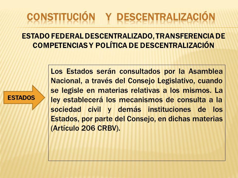 ESTADO FEDERAL DESCENTRALIZADO, TRANSFERENCIA DE COMPETENCIAS Y POLÍTICA DE DESCENTRALIZACIÓN Los Estados serán consultados por la Asamblea Nacional,