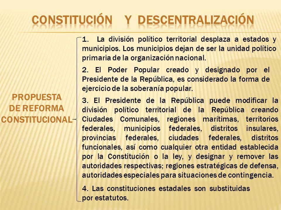 PROPUESTA DE REFORMA CONSTITUCIONAL 1. La división político territorial desplaza a estados y municipios. Los municipios dejan de ser la unidad polític