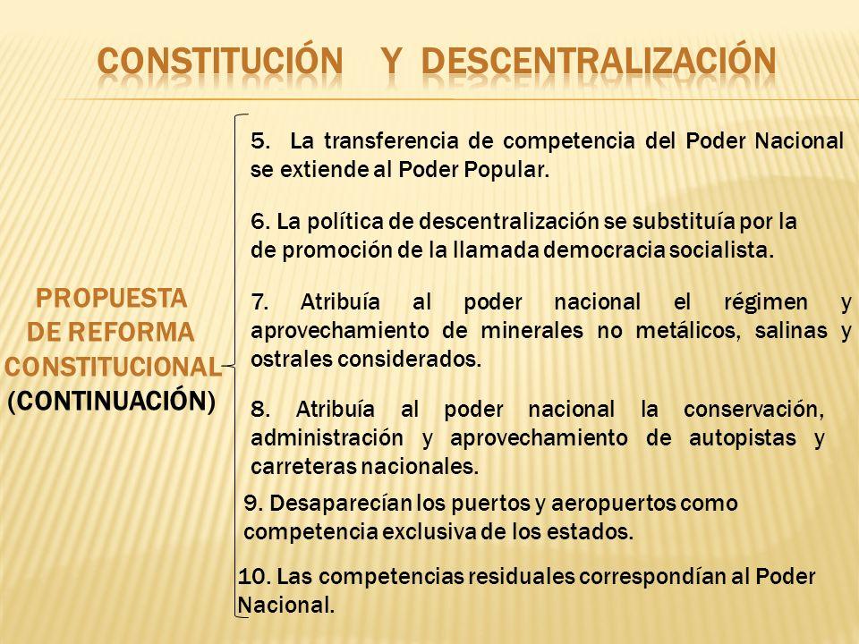PROPUESTA DE REFORMA CONSTITUCIONAL (CONTINUACIÓN) 5. La transferencia de competencia del Poder Nacional se extiende al Poder Popular. 6. La política
