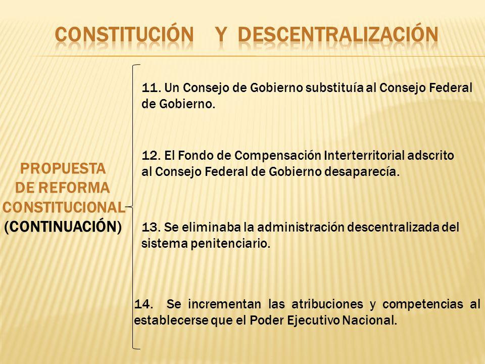 PROPUESTA DE REFORMA CONSTITUCIONAL (CONTINUACIÓN) 11. Un Consejo de Gobierno substituía al Consejo Federal de Gobierno. 12. El Fondo de Compensación