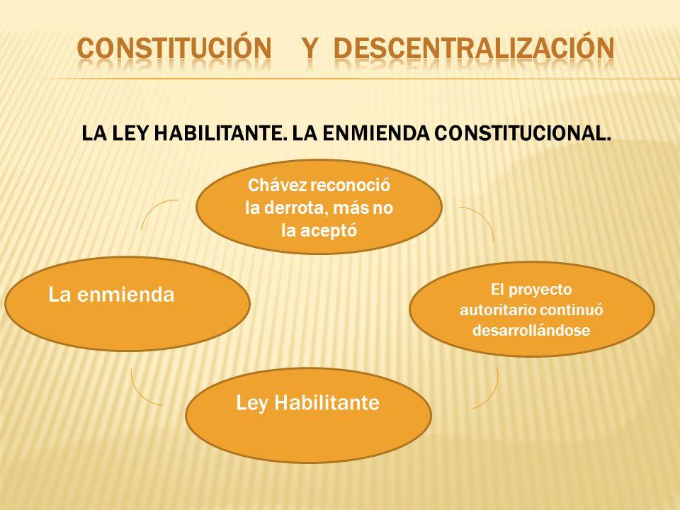 LA LEY HABILITANTE. LA ENMIENDA CONSTITUCIONAL. Chávez reconoció la derrota, más no la aceptó La enmienda El proyecto autoritario continuó desarrollán