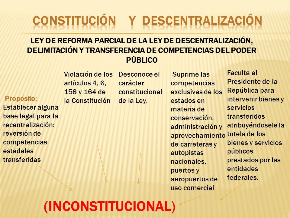 LEY DE REFORMA PARCIAL DE LA LEY DE DESCENTRALIZACIÓN, DELIMITACIÓN Y TRANSFERENCIA DE COMPETENCIAS DEL PODER PÚBLICO Propósito: Establecer alguna bas