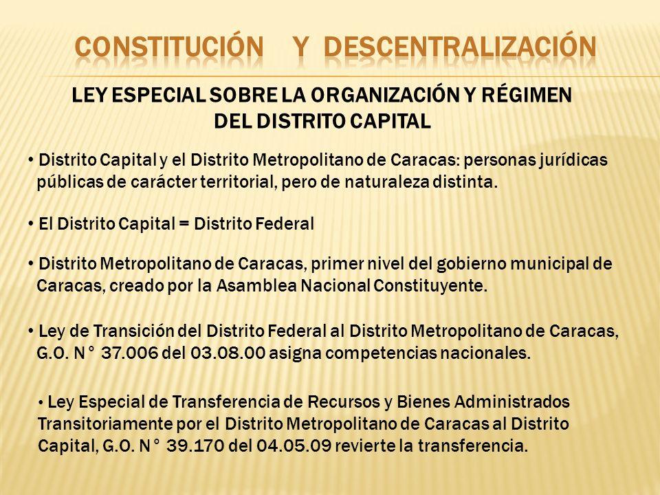 LEY ESPECIAL SOBRE LA ORGANIZACIÓN Y RÉGIMEN DEL DISTRITO CAPITAL Distrito Capital y el Distrito Metropolitano de Caracas: personas jurídicas públicas