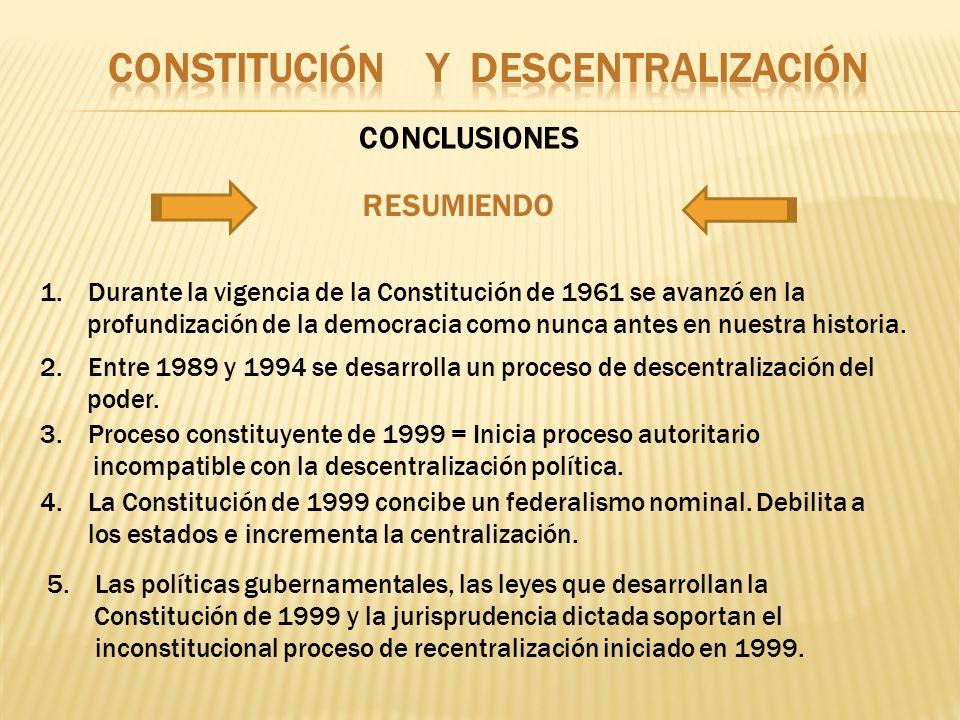CONCLUSIONES 1.Durante la vigencia de la Constitución de 1961 se avanzó en la profundización de la democracia como nunca antes en nuestra historia. 2.