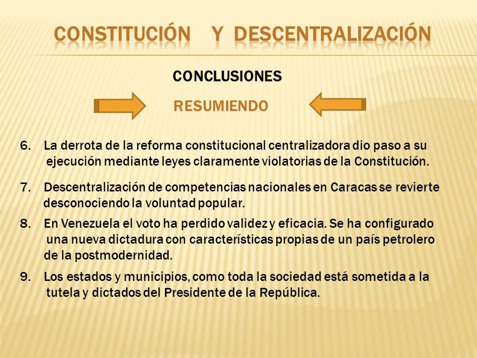 RESUMIENDO 6.La derrota de la reforma constitucional centralizadora dio paso a su ejecución mediante leyes claramente violatorias de la Constitución.