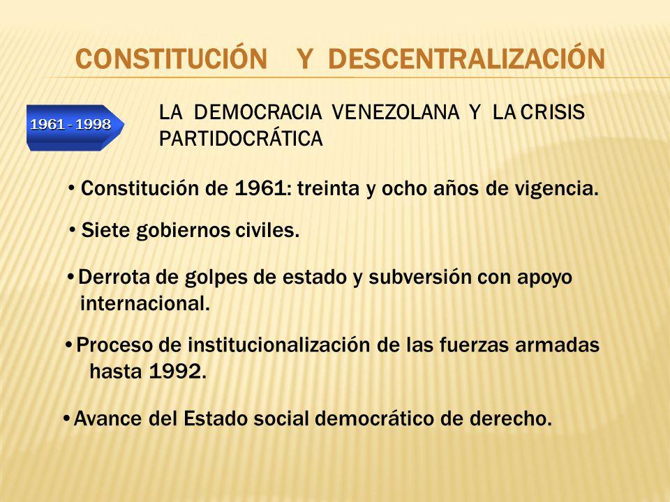 1961 - 1998 CONSTITUCIÓN Y DESCENTRALIZACIÓN LA DEMOCRACIA VENEZOLANA Y LA CRISIS PARTIDOCRÁTICA Avance del Estado social democrático de derecho. Cons