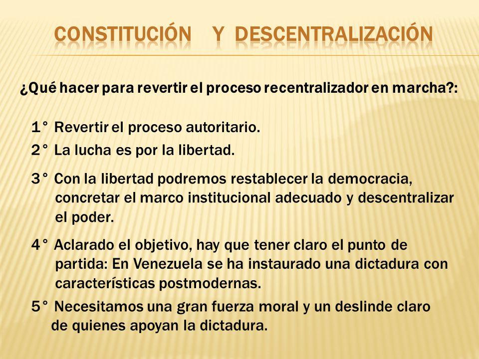 ¿Qué hacer para revertir el proceso recentralizador en marcha?: 1° Revertir el proceso autoritario. 2° La lucha es por la libertad. 3° Con la libertad