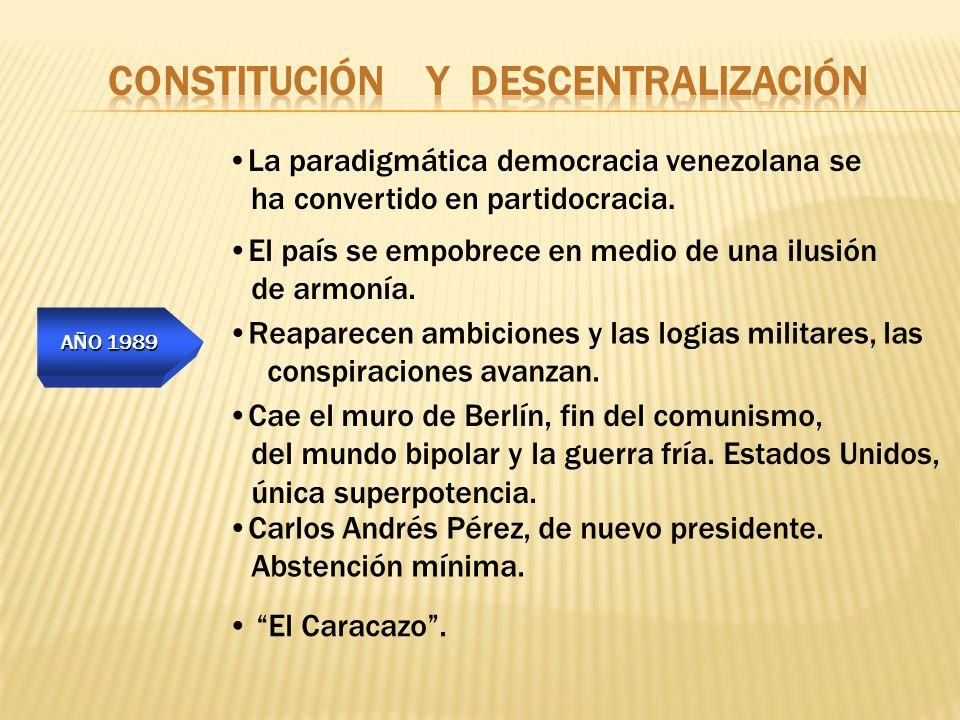 AÑO 1989 El Caracazo. La paradigmática democracia venezolana se ha convertido en partidocracia. El país se empobrece en medio de una ilusión de armoní