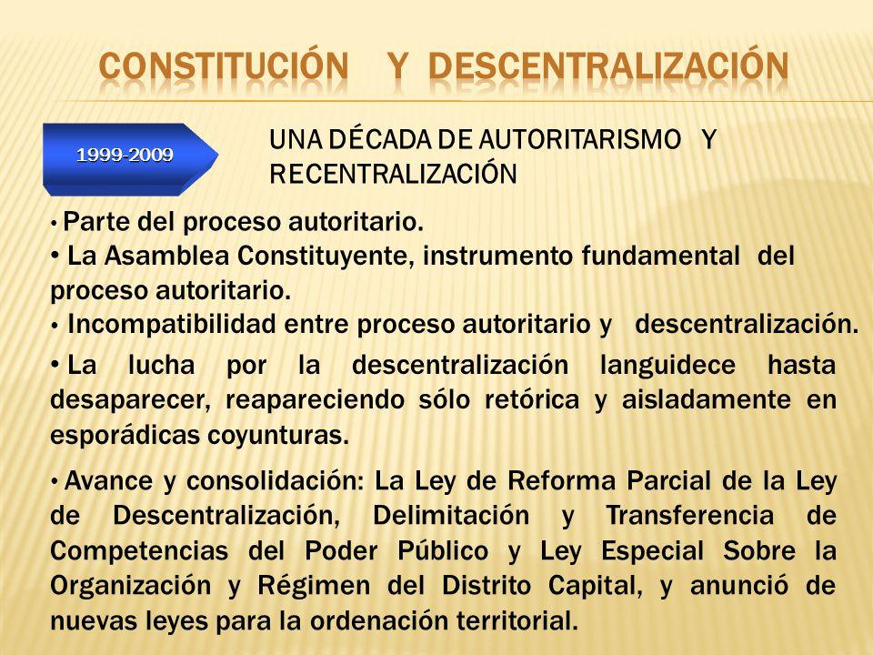 1999-2009 1999-2009 UNA DÉCADA DE AUTORITARISMO Y RECENTRALIZACIÓN Parte del proceso autoritario. Avance y consolidación: La Ley de Reforma Parcial de