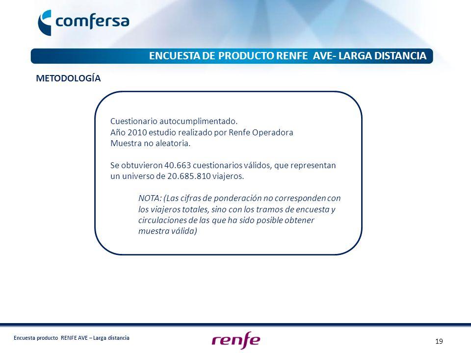 Encuesta producto RENFE AVE – Larga distancia ENCUESTA DE PRODUCTO RENFE AVE- LARGA DISTANCIA METODOLOGÍA Cuestionario autocumplimentado. Año 2010 est