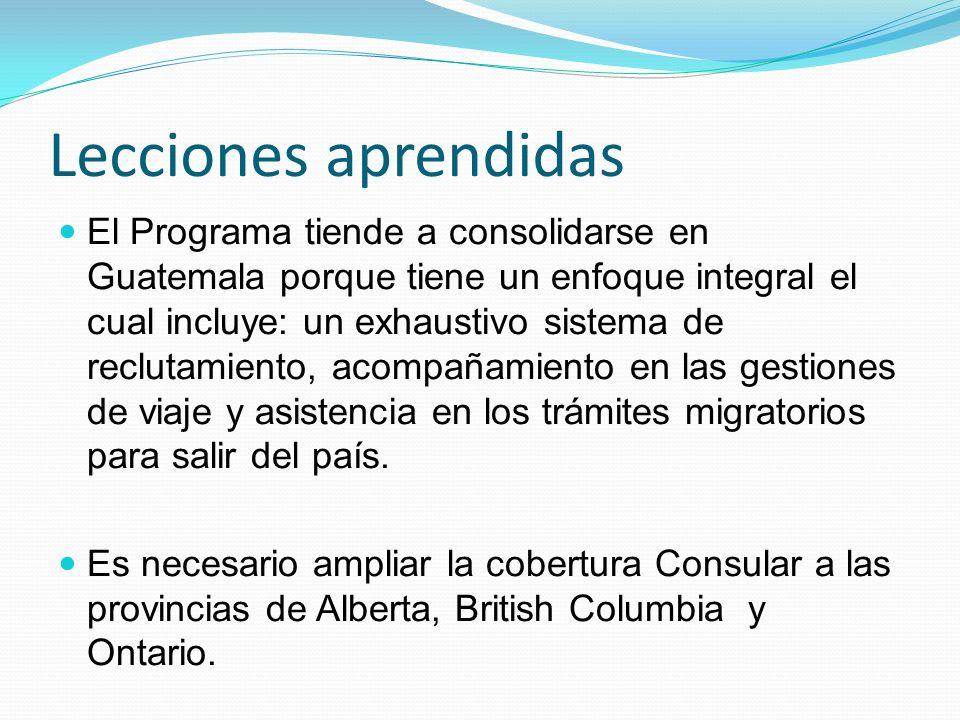 Lecciones aprendidas El Programa tiende a consolidarse en Guatemala porque tiene un enfoque integral el cual incluye: un exhaustivo sistema de reclutamiento, acompañamiento en las gestiones de viaje y asistencia en los trámites migratorios para salir del país.