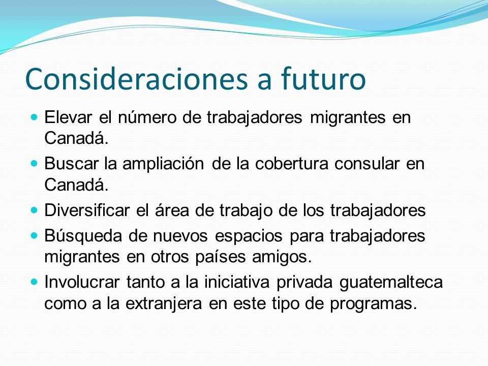 Consideraciones a futuro Elevar el número de trabajadores migrantes en Canadá.