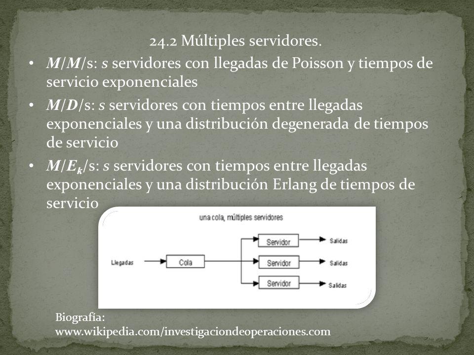 24.2 Múltiples servidores. M / M /s: s servidores con llegadas de Poisson y tiempos de servicio exponenciales M / D /s: s servidores con tiempos entre