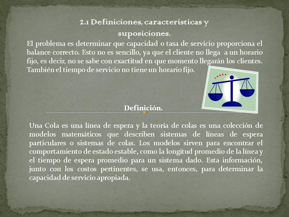 2.1 Definiciones, características y suposiciones. El problema es determinar que capacidad o tasa de servicio proporciona el balance correcto. Esto no
