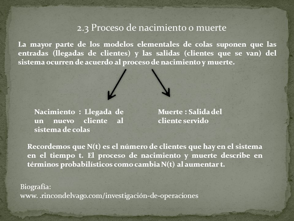 2.3 Proceso de nacimiento o muerte La mayor parte de los modelos elementales de colas suponen que las entradas (llegadas de clientes) y las salidas (clientes que se van) del sistema ocurren de acuerdo al proceso de nacimiento y muerte.