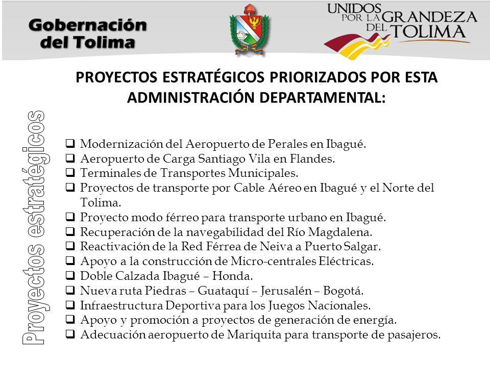 PROYECTOS ESTRATÉGICOS PRIORIZADOS POR ESTA ADMINISTRACIÓN DEPARTAMENTAL: Modernización del Aeropuerto de Perales en Ibagué. Aeropuerto de Carga Santi