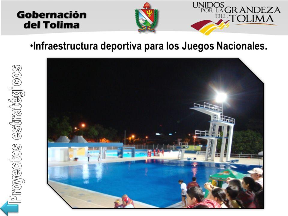 Infraestructura deportiva para los Juegos Nacionales.