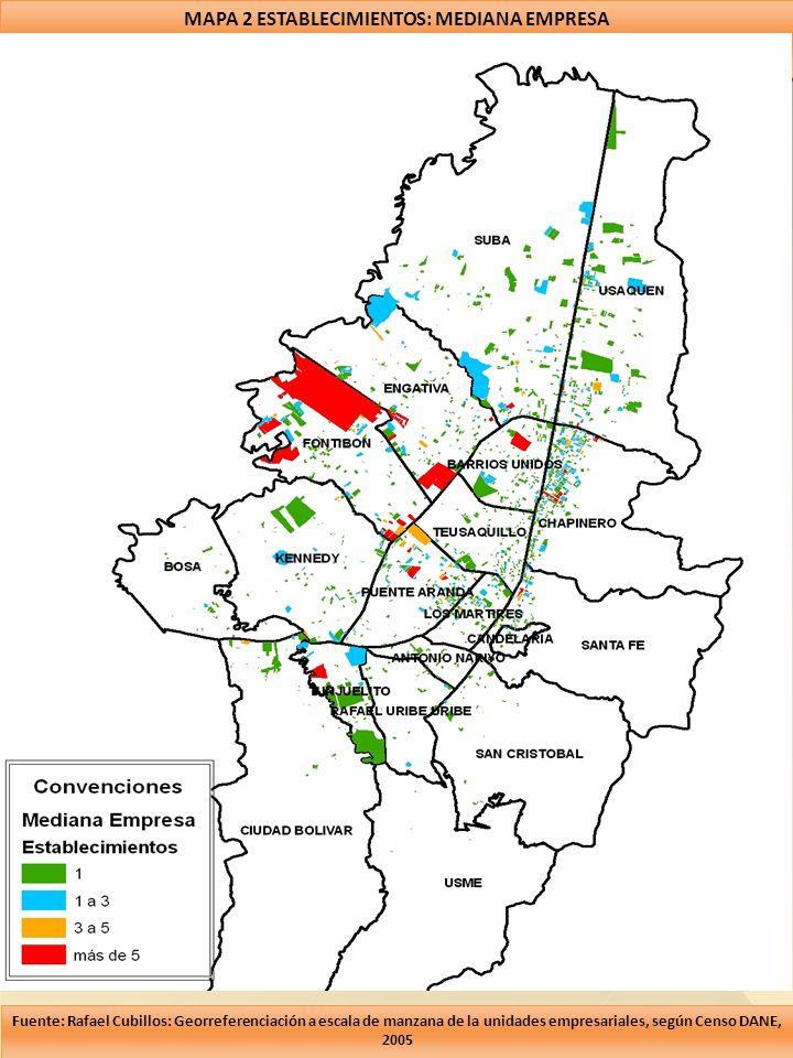 MAPA 2 ESTABLECIMIENTOS: MEDIANA EMPRESA Fuente: Rafael Cubillos: Georreferenciación a escala de manzana de la unidades empresariales, según Censo DAN