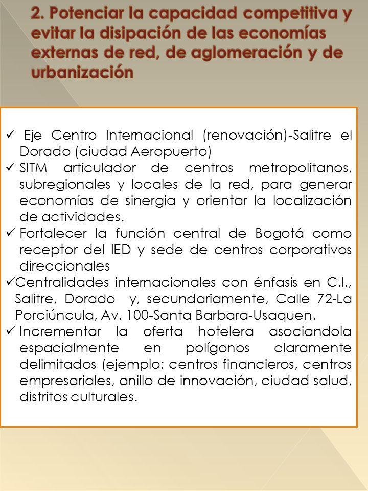 Eje Centro Internacional (renovación)-Salitre el Dorado (ciudad Aeropuerto) SITM articulador de centros metropolitanos, subregionales y locales de la red, para generar economías de sinergia y orientar la localización de actividades.