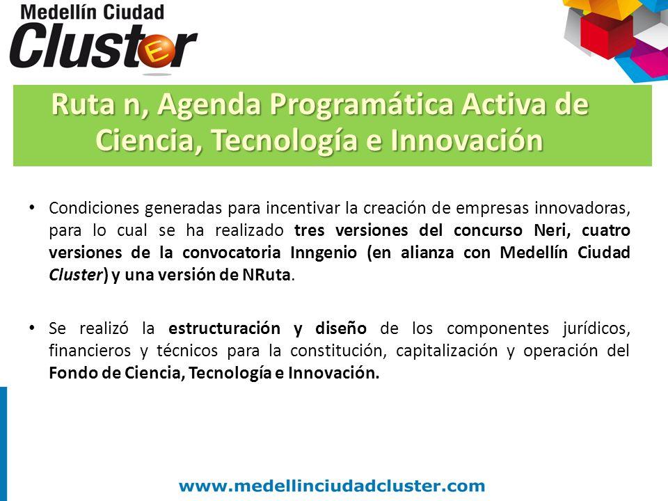 Condiciones generadas para incentivar la creación de empresas innovadoras, para lo cual se ha realizado tres versiones del concurso Neri, cuatro versi