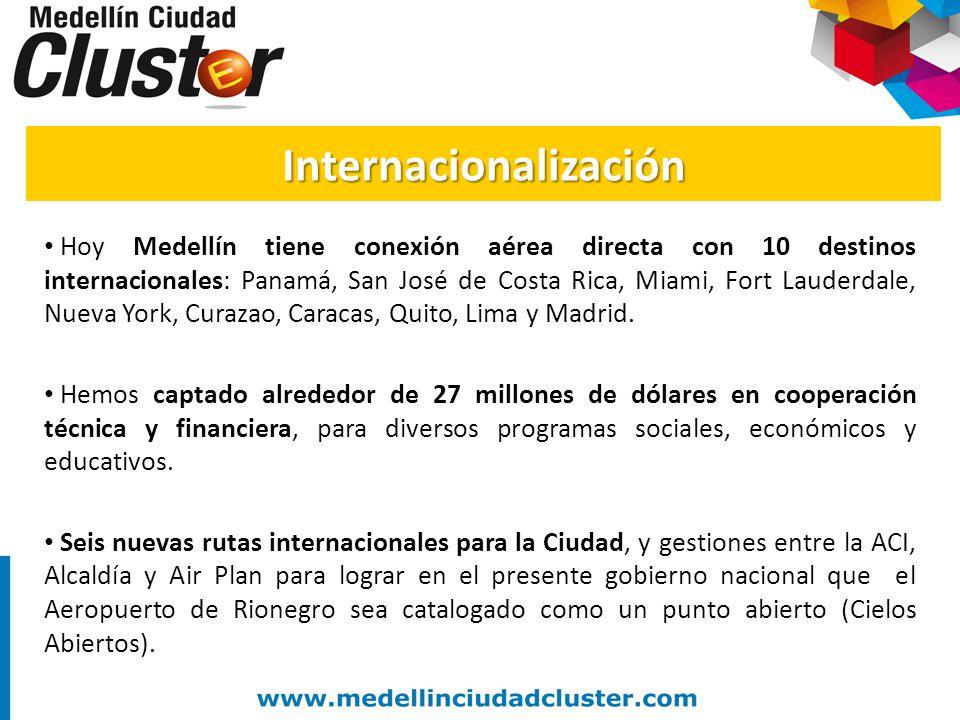 Hoy Medellín tiene conexión aérea directa con 10 destinos internacionales: Panamá, San José de Costa Rica, Miami, Fort Lauderdale, Nueva York, Curazao